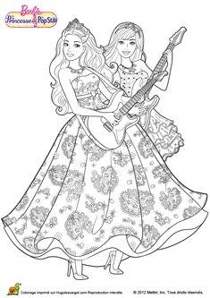 Coloriage du dessin de Barbie et son amie en train de chanter en jouant à la guitare.