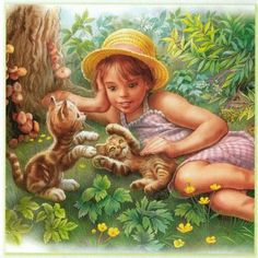 'Martine' is the title character in a series of books for children originally written in French by the Belgians Marcel Marlier and Gilbert Delahaye and edited by Casterman. Marcel, Art And Illustration, Illustrations, Pretty Pictures, Art Pictures, Cartoon Girl Images, Art Anime, Animals For Kids, Cat Art