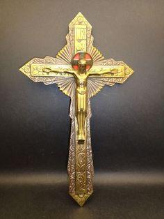 Crucifix, Floral Motif, Egypt, Art Deco, Clock, Bronze, Symbols, Dracula, Antiques