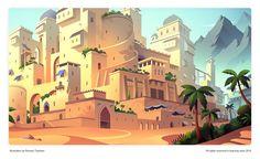 Game illustrations on Behance Game Environment, Environment Concept Art, Environment Design, Aladdin Game, Game Background, Paper Illustration, Animation, Visual Development, Game Design