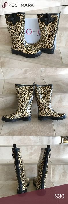 "Soho Rain Boots Brand-new in box Soho shoes Abby leopard rain boots, lugged Sole  for maximum traction pull tab, removable footbed,smooth finish,side buckle accent, 1"" heel, round toe, slip on, man made upper, man made rubber sole. soho Shoes Winter & Rain Boots"