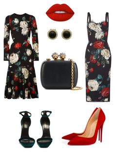 """Untitled #330"" by srzf on Polyvore featuring Dolce&Gabbana, Yves Saint Laurent, Christian Louboutin, Alexander McQueen and Lime Crime"