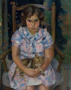 "Loïs Mailou Jones (American, 1905–1998) - ""Fille assise avec chat"", 1938"