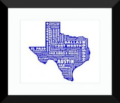 Texas Poster | State Map Art, Texas Typography Map Print