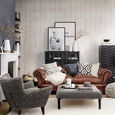 Scandi hideaway with Chesterfield-style sofa