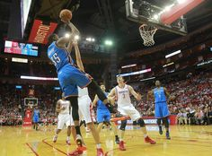 Oklahoma City Thunder guard Reggie Jackson, breaks down court after stealing the ball from Houston Rockets center Omer Asik, during an NBA basketball game in Houston Friday, April (AP Photo/Richard Carson) Durant Nba, Kevin Durant, Thunder Vs, Reggie Jackson, Oklahoma City Thunder, Houston Rockets, Ny Times, Basketball Court, Sports