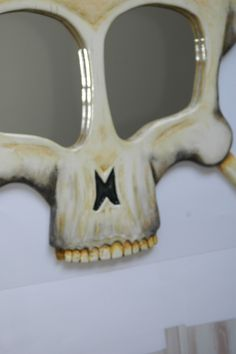 Mirror, wall hanging, sculptural wall art, Funky Mirror, Mirror art. Skull Mirror of funkyMirrors