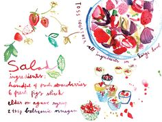 food illustration,  figs and strawberries mix