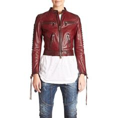 DSQUARED2 Braided-Sleeve Leather Jacket ($2,910) ❤ liked on Polyvore featuring outerwear, jackets, apparel & accessories, bordeaux, cropped jacket, leather-sleeve jacket, red zip jacket, cropped leather jacket and red cropped jacket