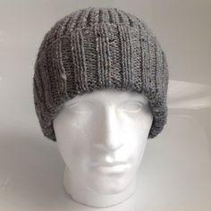 Mens Grey Aran Beanie Hat in Half Fisherman's Rib by sewmoira
