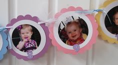 Pastel or Any color- 12 Month- Month by Month- 1st Year  Photo Birthday Banner- Photo's Included- Keepsakes by Christy. $22.00, via Etsy.