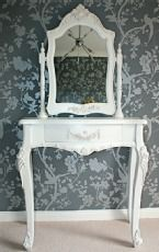 White Laura dressing table, mirror and stool - WF17,WF29