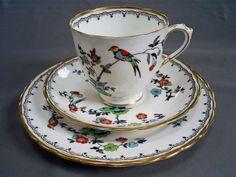 VINTAGE-ART-DECO-PLANT-TUSCAN-CHINA-BIRD-OF-PARADISE-TEA-CUP-SAUCER-PLATE-TRIO