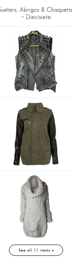 """""""Sueters, Abrigos & Chaquetas ~ Diecisiete"""" by mortifera ❤ liked on Polyvore featuring outerwear, vests, jackets, tops, vest waistcoat, topshop, coats, coats & jackets, khaki and khaki military jacket"""