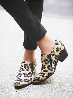 Leander Ankle Boot | Spanish crafted leopard print pony hair ankle boots with metal toe and heel caps and gusset detailing. Block heels.    *By TBA