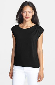 Free shipping and returns on Eileen Fisher Ballet Neck Jersey Cap Sleeve Top (Regular & Petite) at Nordstrom.com. Pleating atop one shoulder releases graceful dimension into a fluid knit top styled with a pretty ballet neckline and sweet cap sleeves.