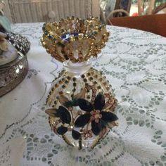 Jeweled blue rhinestone perfume bottle by cindysvictorian on Etsy