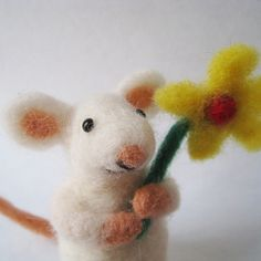 Mouse blossom needle felted animal by TCMfeltDesigns on Etsy