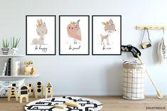 Zestaw plakatów BE HAPPY A3 - dziecko - plakaty, obrazki - Pakamera.pl