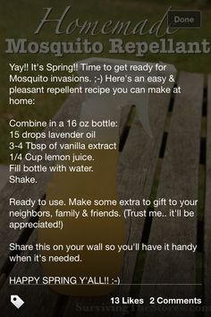 Homemade mosquito repellant.........  Woks wonderful!!  I only had peppermint oil so used that instead and it worked well! :-)