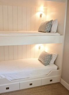 Built-in bunk beds - I would love these in a finished basement for guests/during tornadoes and such. < would be such a great idea if I lived somewhere with tornadoes!
