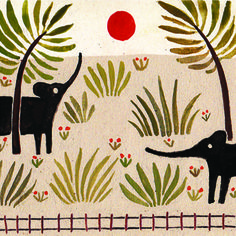 'Elephants' by English artist & illustrator Lara Hawthorne. via the zoo keeper