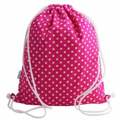 Handmade drawstring waterproof lined swim bag, backpack, gym bag or PE bag for girls.    Made from quality cotton and fitted with a waterproof liner.    This bag is very strong and able to withstand the rigours of everyday life.    Fitted with strong drawcord straps so that it can be worn over both shoulders.    Size: 33 cm Wide x 41 cm High (13 inches x 16 inches)    Waterproof lined  2 Drawstring cord straps  Write on name label fitted  Strong, durable and long lasting  Machine washable…