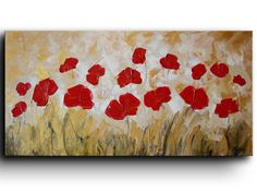 Original oil painting Spring Flowers Red Poppies by studiomosaic, $199.00