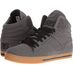 Osiris Clone (Charcoal/Gum) Men's Skate Shoes ($43) ❤ liked on Polyvore featuring men's fashion, men's shoes, men's sneakers, black, mens high tops, mens black high top shoes, mens high top skate shoes, mens hi tops and mens skate shoes
