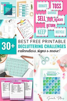 Best Free Printable Decluttering Challenges, Calendars, Signs, and More - Sarah Titus Printable Designs, Free Printables, Organization Hacks, Organizing Ideas, Declutter Your Home, Printable Planner, Getting Organized, Konmari Method, Challenges
