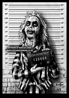 "Beetlejuice Mugshot. by MarcusJones / ""Mugshots"" by MarcusJones on DeviantArt (Marcus Jones, United Kingdom)"