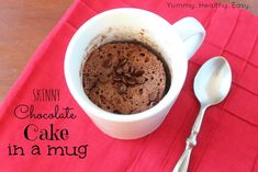 {Skinny} Cake in a Mug:  •combine 1/3 Cup of MIX, 3 tbsp of water in a mug, microwave 1 minute and you have a low-fat, low-calorie dessert! Yummy. Healthy. Easy.  MIX= (combine: angel food cake mix + chocolate cake mix)