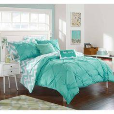 Aqua Comforter, Full Comforter Sets, Teen Bedding, Bedding Sets, King Comforter, Turquoise Comforter, White Bedding, Blue Teen Girl Bedroom, Teen Girl Bedrooms