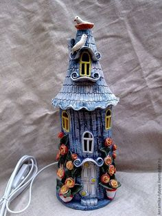 Handbuilt clay, stone fairy house with birdbath Glass Bottle Crafts, Wine Bottle Art, Painted Wine Bottles, Bottles And Jars, Clay Fairy House, Fairy Houses, Garden Houses, Clay Projects, Clay Crafts
