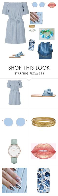"""Roses are blue violets are too"" by squishfashion ❤ liked on Polyvore featuring Miss Selfridge, Ancient Greek Sandals, CLUSE and Louis Vuitton"