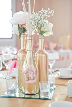 DIY Wedding Centerpieces, pin number 9770408867 for astounding table centerpiece. Wine Bottle Centerpieces, Wedding Wine Bottles, Gold Wedding Decorations, Wedding Table Centerpieces, Wedding Flower Arrangements, Centerpiece Flowers, Floral Arrangements, Wine Bottle Flowers, Wine Bottle Crafts