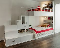 Wählen Sie das richtige Hochbett mit Treppe fürs Kinderzimmer - das richtige hochbett mit treppe im kinderzimmer weiß glatt oberfläche kids room multi level bed