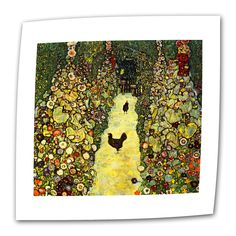 Garden Path with Chickens by Gustav Klimt Painting Print on Canvas
