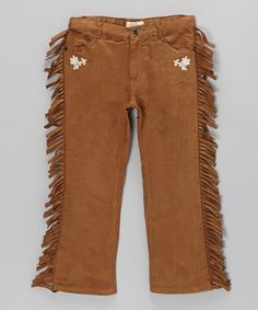 Western-inspired details like faux suede construction and floral embroidery give these pants adorable appeal. Sweeties will love the classic design and funky top-to-bottom fringe.