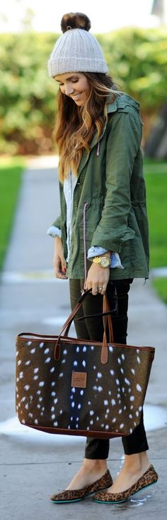 Army Green Hooded Utility Jacket with Leopard Flats. They can keep the hat.