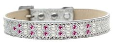Mirage Pet Products Two Row Pearl and Pink Crystal Ice Cream Dog Collar, Size 20, Silver