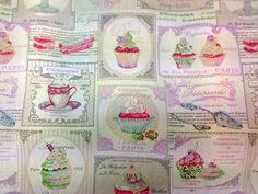 PARIS Ice Cream, Cake Food Print 100% cotton upholstery Duvets, curtain, cushions, Table covers fabric supplies crafts by the Metre on Etsy, £13.99
