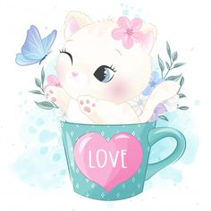 Cute Little Kitty Inside The Cup Playing With Butterfly Baby Animal Drawings, Cute Animal Drawings Kawaii, Cute Drawings, Panda Wallpapers, Cute Wallpapers, Kittens Playing, Kittens Cutest, Cute Images, Cute Pictures