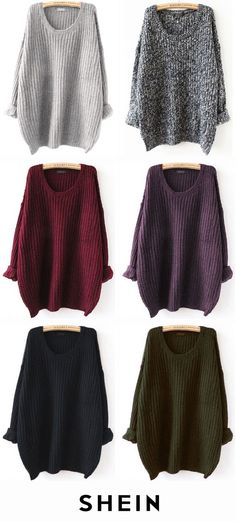 Batwing Drop Shoulder Loose Knit Sweater