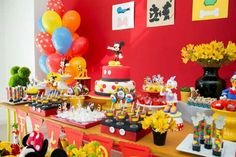 Colorful dessert table at a Mickey Mouse birthday party! See more party ideas at CatchMyParty.com!