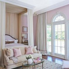 Pink Bedroom with Ceiling Mount Bed Canopy