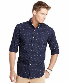 American Rag Shirt, Duck Print Short Sleeve Shirt - Casual Button ...