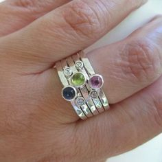 mothers stacking rings . sterling silver with birthstones & inscriptions . (( Mothers Stackers )) . set of 5 . made to order in your size