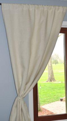 white blackout lined burlap curtain panels | curtains | pinterest
