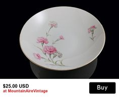 Vegetable Bowl Royal Court China Carnation Pattern  This is a gorgeous vegetable bowl made by Royal Court China in the Carnation pattern.  An elegant and versatile bowl with the grace from a bygone age. #vegetable #bowl #china #royalcourt #carnation #vintage #mountainairevintage